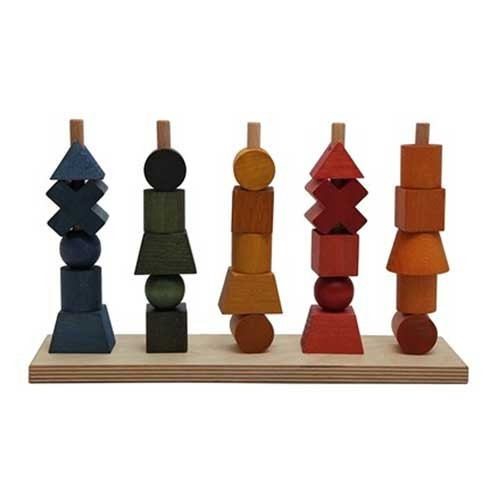 Wooden Story Steckspiel in Regenbogenfarben 26teiliges Holzspielzeug