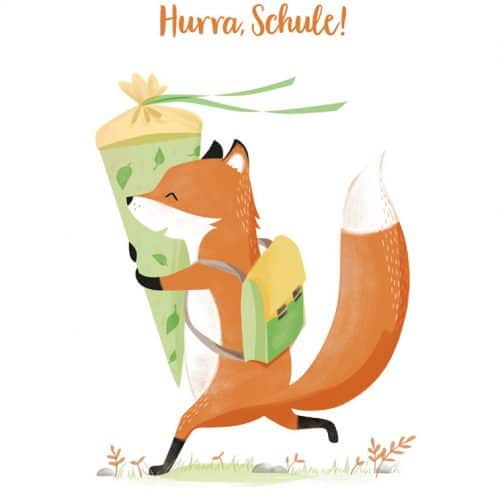 Wunderschöne Einschulungskarte Hurra, Schule! von 54 illustration mit einem schlauen Füchslein als Motiv.