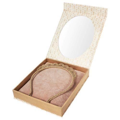 Maileg Tiara in gold in Schmuckbox mit Spiegel