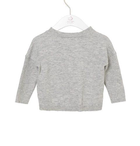 noa noa-pullover-grau-herz-
