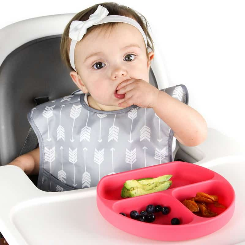 bumkins baby und kinderteller aus silikon rutschfest in pink. Black Bedroom Furniture Sets. Home Design Ideas