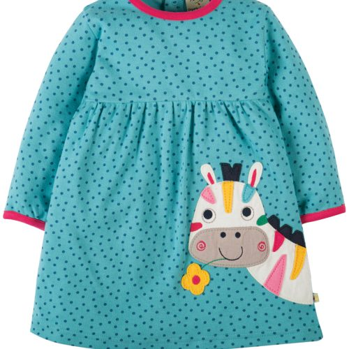 Frugi Jersey-Kleid mit Zebra-Applikation in aqua blau