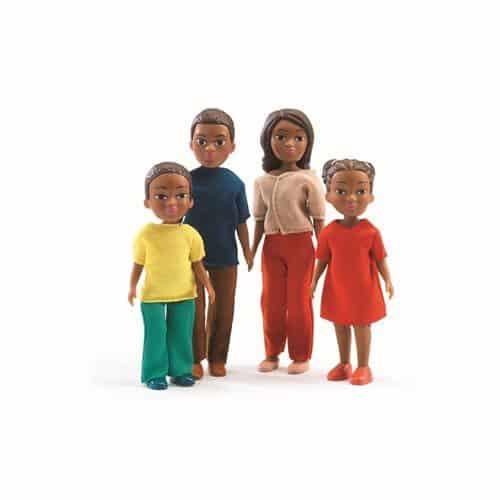 Djeco Puppenhaus-Zubehör: Biegepuppen Familie Milo & Lila