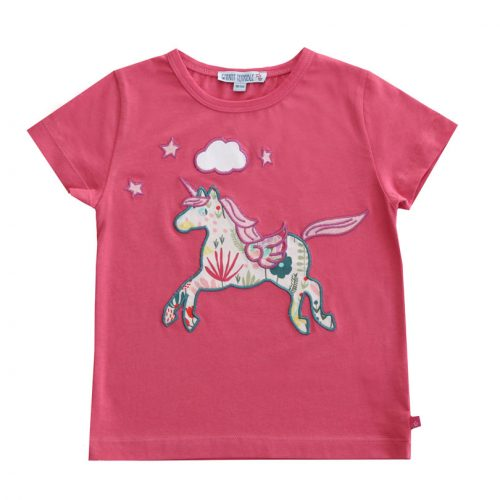 Enfant Terrible - Kurzarm-Shirt mit Einhorn-Applikation in raspberry