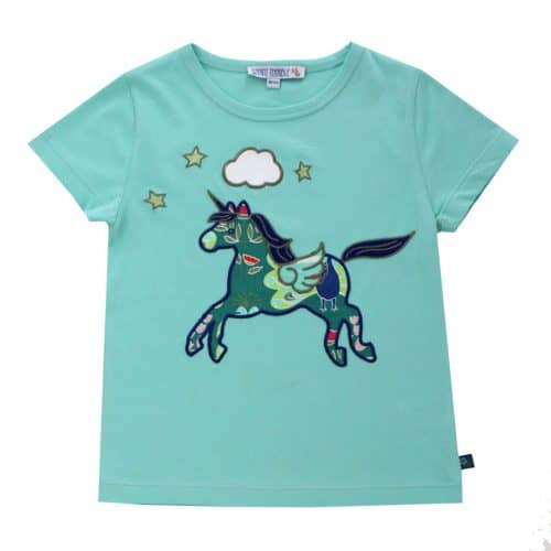 Enfant Terrible - Kurzarm-Shirt mit Einhorn-Applikation in ocean