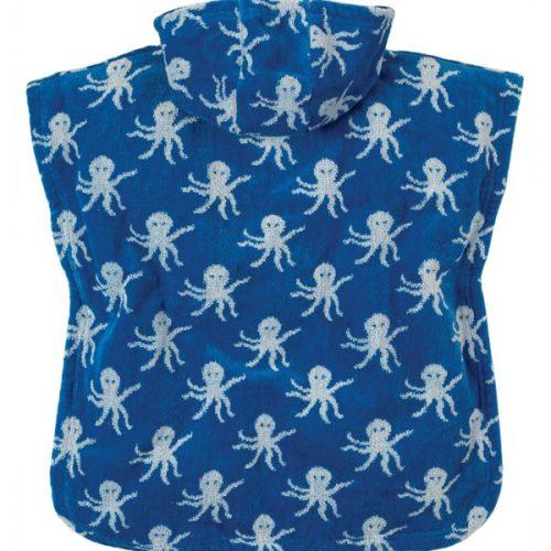 Frugi Kapuzenhandtuch Oktopus blau-weiss