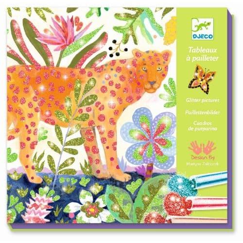 Djeco Glitzerbilder Tropico 4 farbenfrohe Wildtiere