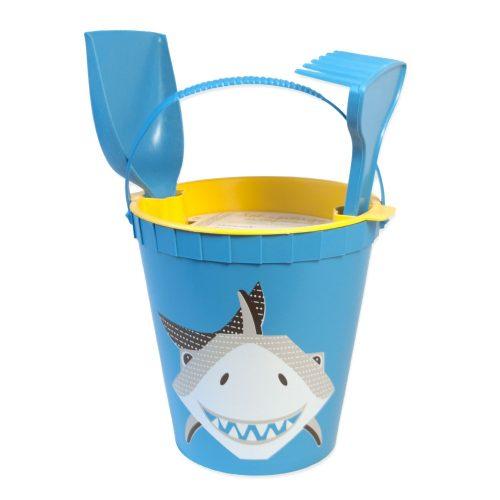 Sandspielzeug Haifisch in blau-gelb
