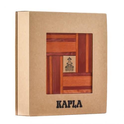 Kapla® Set mit 40 Pinienholz-Plättchen in rot-orange und Buch