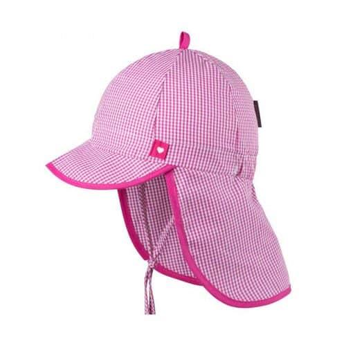pure-pure Babymütze mit UV- und Nackenschutz in pink-weiß kariert