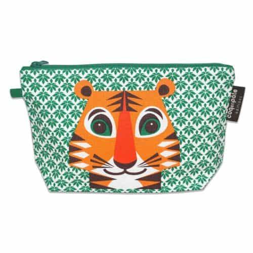 Schminktasche - Kulturbeutel Tiger in grün-orange