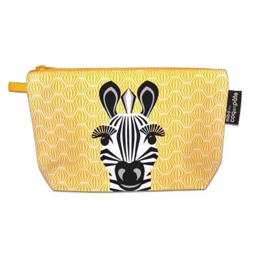 Schminktasche - Kulturbeutel Zebra in gelb-schwarz