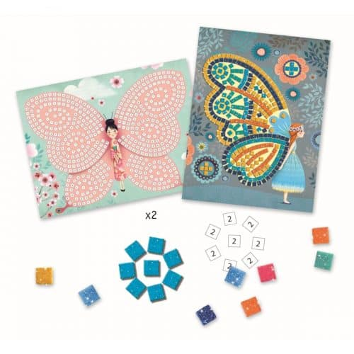 Djeco: Kunst nach Zahlen - Mosaik stickern Schmetterlinge