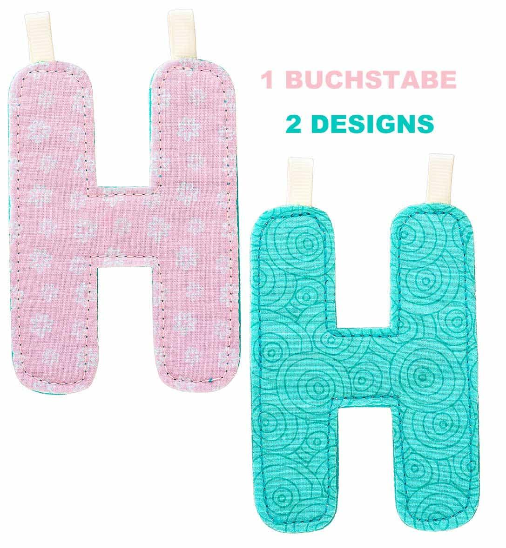 Lilliputiens Stoff-Buchstabe H in 2 Designs, zum wenden