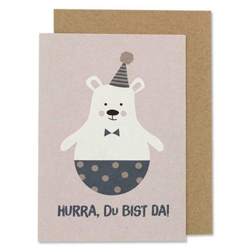 ava & yves Babykarte Eisbär mit Hut im Umschlag.