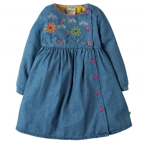 Frugi Denim-Kleid Edie mit Stickerei