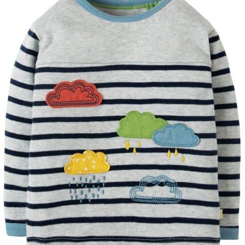 Frugi Langarm-Shirt Regenwolken in grau gestreift