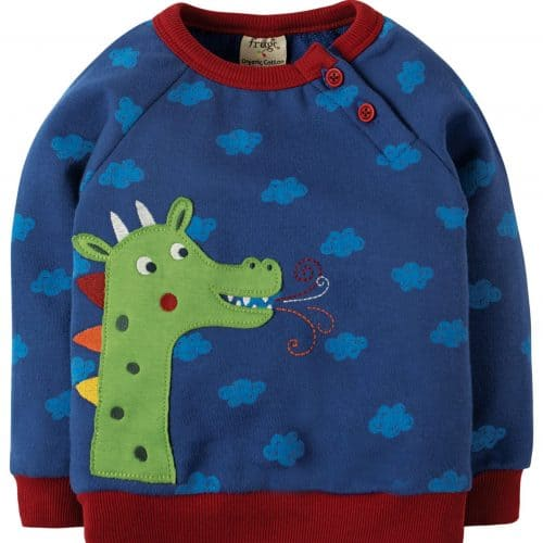 Frugi Langarm-Shirt in blau mit Drachen-Applikation
