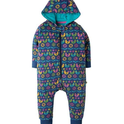 Frugi Jumpsuit Scandi Birds in blau mit Print