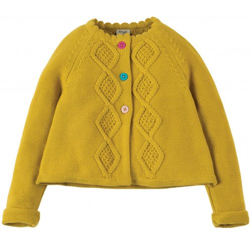 Frugi Strickjacke Carrie mit Zopfmuster in ginster