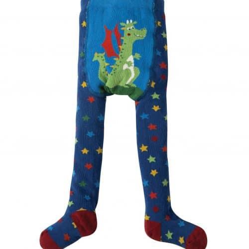 Frugi Strumpfhose Drache und Sterne in blau-bunt