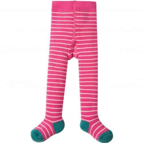 Frugi Thermo-Strumpfhose in pink-weiss