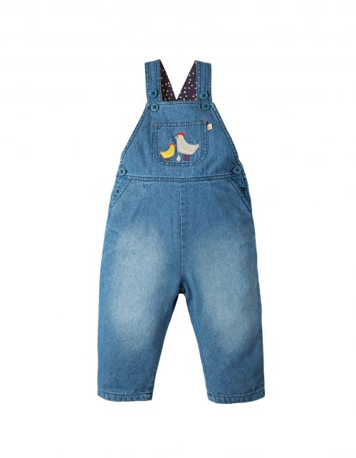Frugi Denim-Latzhose Hopscotch Chickens