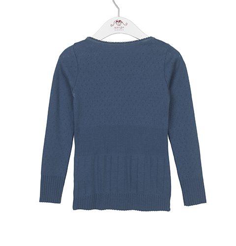 Langarm-Shirt DORIA mit Lochmuster in vintage indigo