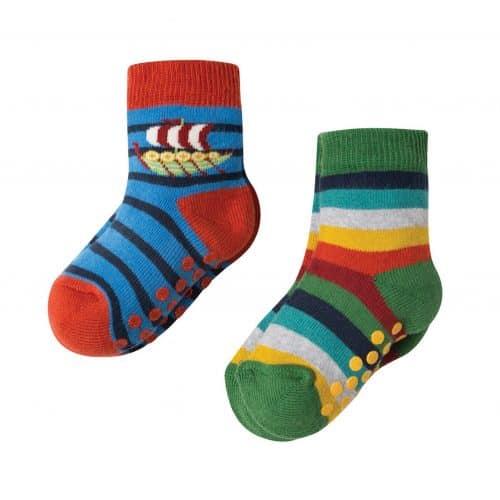 Frugi 2 Paar Stopper-Socken Wikinger in blau-bunt