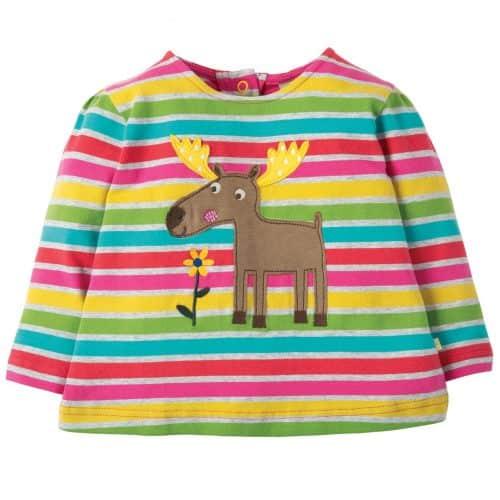 Frugi Langarm-Shirt Elch in Regenbogenfarben