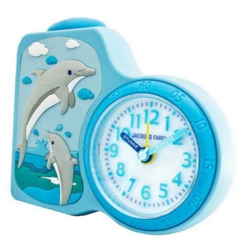 Jaques Farel Kinderwecker Delphin mit Lernzeigern in blau