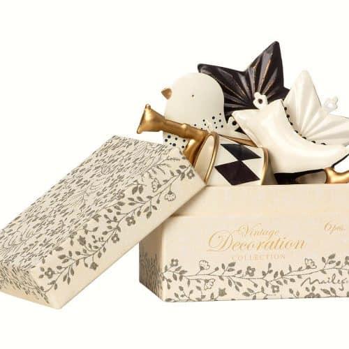 Maileg Baumschmuck in weiss-gold-anthrazit in Box, 7-teilig