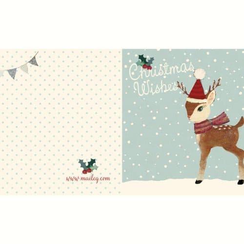Maileg X-Mas Doppelkarte mit Umschlag Bambi