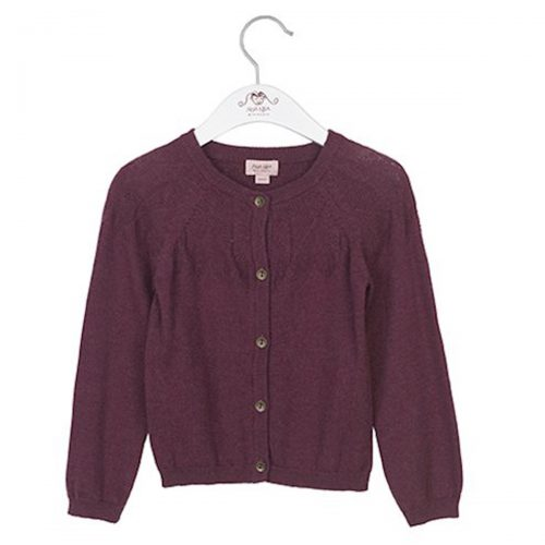 Noa Noa miniature Strickjacke für Girls in violett mit Lochmuster