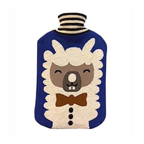 Collégien Wärmflasche mit Lama-Motiv-Bezug in blau
