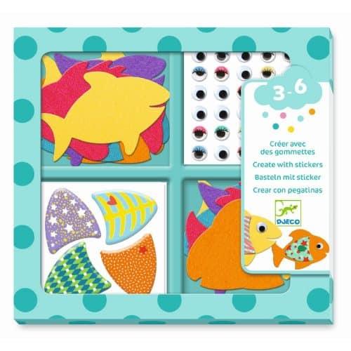 Djeco Basteln mit Stickern: Fische