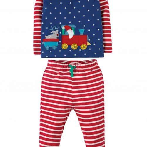 Frugi Schlafanzug Weihnachts-Express in blau
