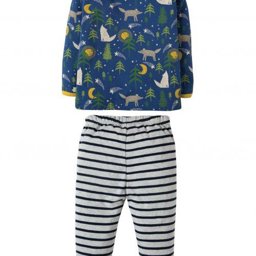 Frugi Schlafanzug Kleine Wölfe in blau