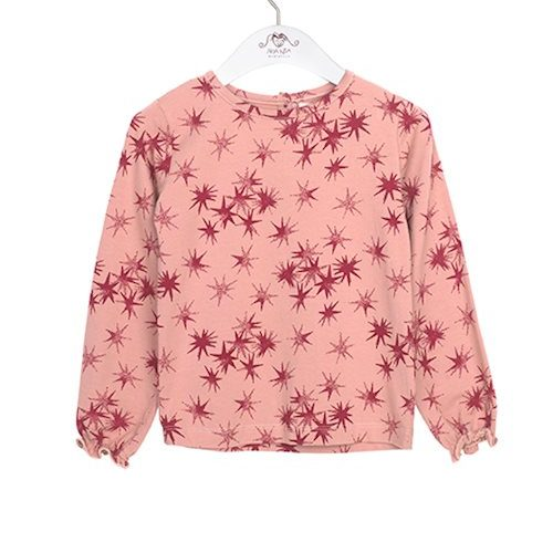 Noa Noa miniature Langarm-Shirt Capella mit Sternen in ash rose