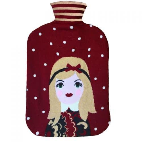 Collégien Wärmflasche mit Bezug - Motiv Girl in rubinrot
