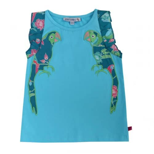 Enfant Terrible Top mit Papagei-Applikation in aqua