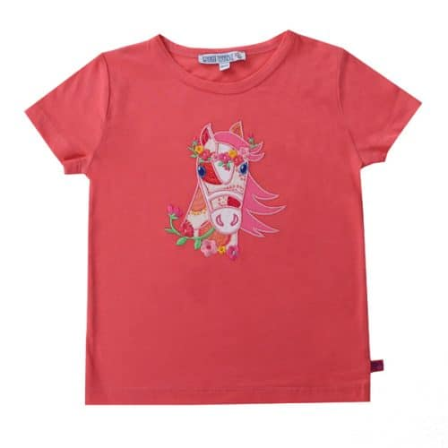 Enfant Terrible Kurzarm-Shirt mit Pferd-Applikation in strawberry