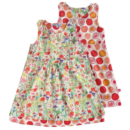 Enfant Terrible Wendekleid Blumenwiese und Kreise in white-strawberry