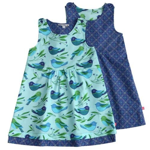 Enfant Terrible Wendekleid Vögel und geometrischer Druck in light aqua-navy
