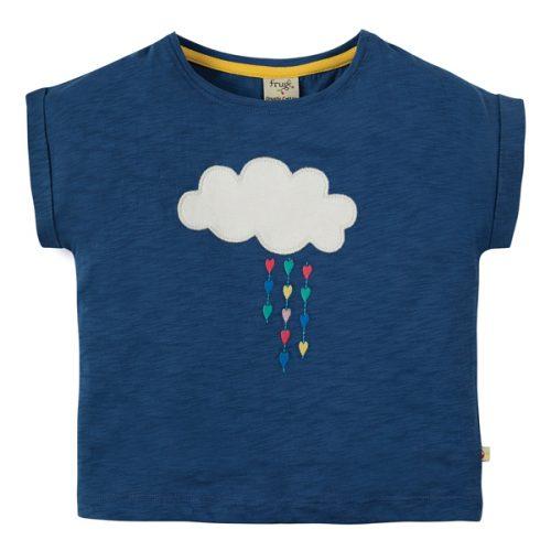 Frugi Kurzarm-Shirt Wolke in blau