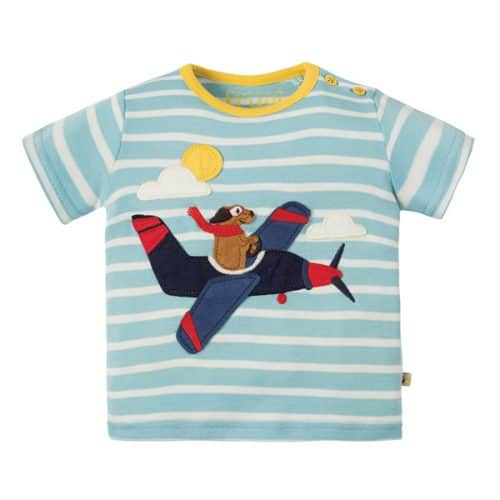 Frugi Kurzarm-Shirt mit Flugzeug-Applikation