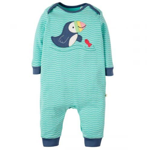 Frugi Baby-Strampler Papageientaucher in mint-weiss