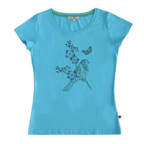 Enfant Terrible Kurzarm-Shirt mit Vogel Stickerei in aqua