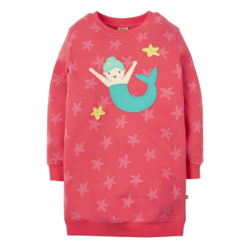 Frugi Jumper-Kleid mit Meerjungfrau-Applikation in pink
