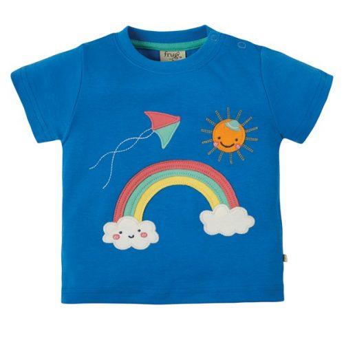 Frugi Kurzarm-Shirt mit Regenbogen in blau